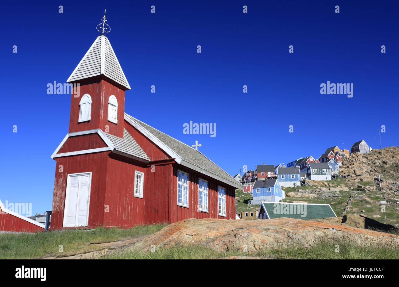 Greenland, Upernavik, town view, residential houses, church, North-Western Greenland, coast, town, the Arctic, houses, - Stock Image