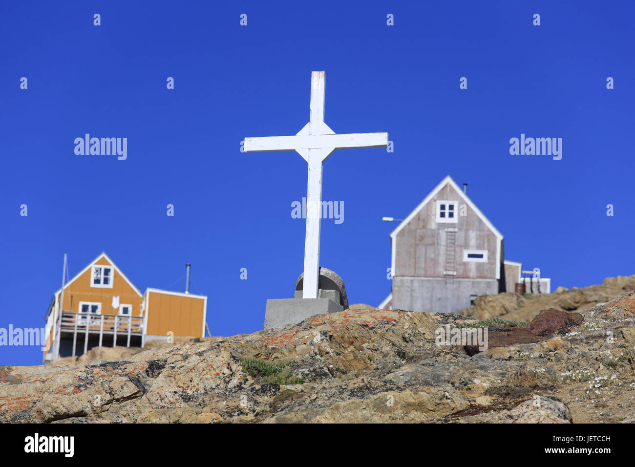 Greenland, Upernavik, residential houses, cemetery, cross, North-Western Greenland, coast, town, the Arctic, houses, - Stock Image