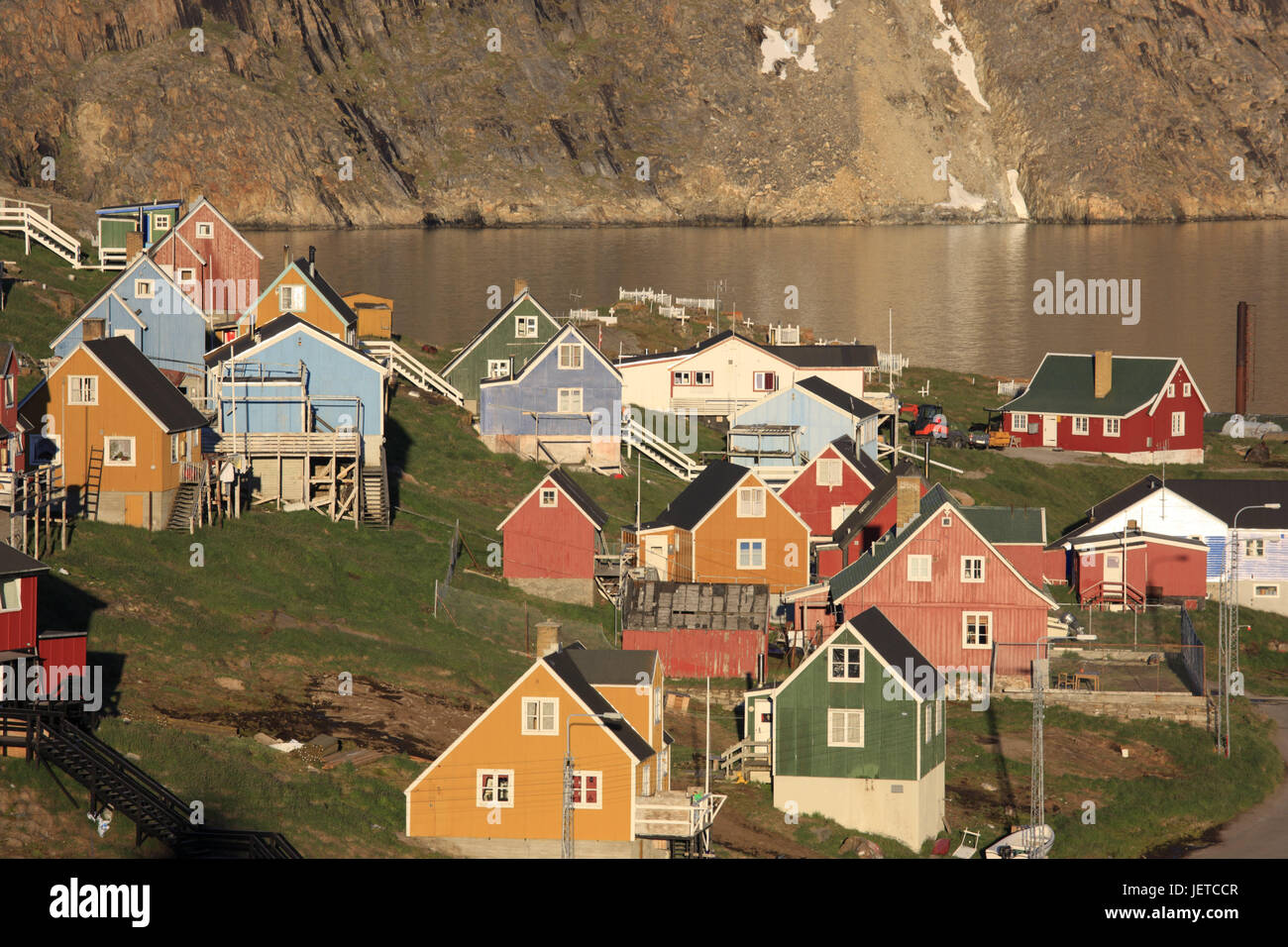 Greenland, Upernavik, town view, residential houses, North-Western Greenland, coast, town, the Arctic, houses, timber - Stock Image