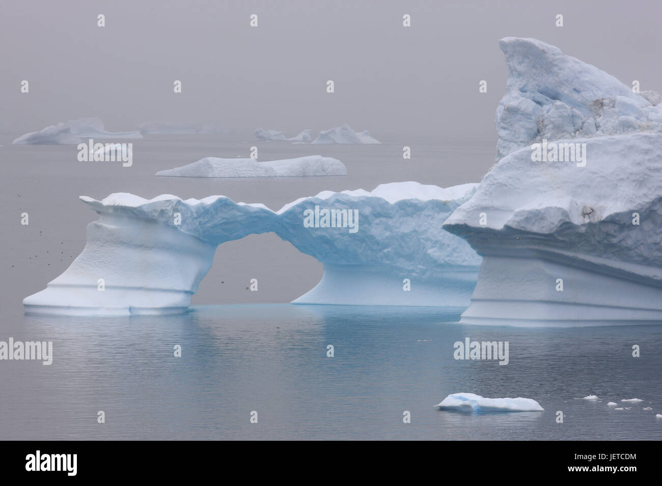 Greenland, Uummannaq, coast, fjord, icebergs, foggy, Northern Greenland, destination, sea, the Arctic, glacier ice, - Stock Image