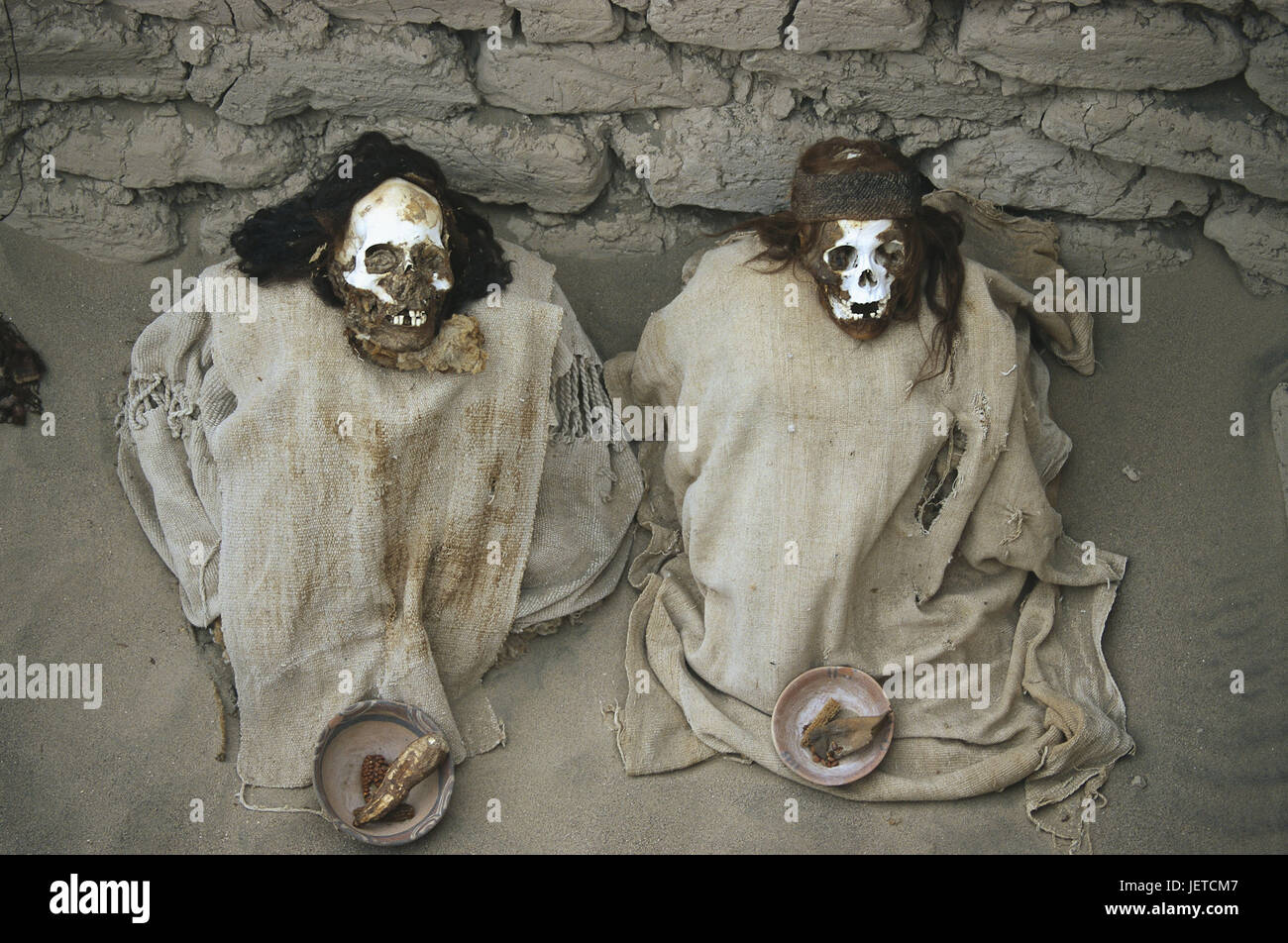 Peru, Nazca, Chauchilla, cemetery, skeletons, substance leftovers, South America, Nazcatal, Chauchilla tomb, tomb, - Stock Image