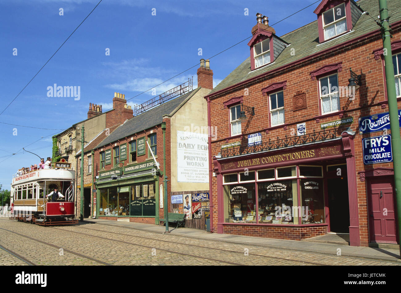 Great Britain, England, Durham, Beamish, Open air museum, house line, tram, Europe, destination, place of interest, - Stock Image