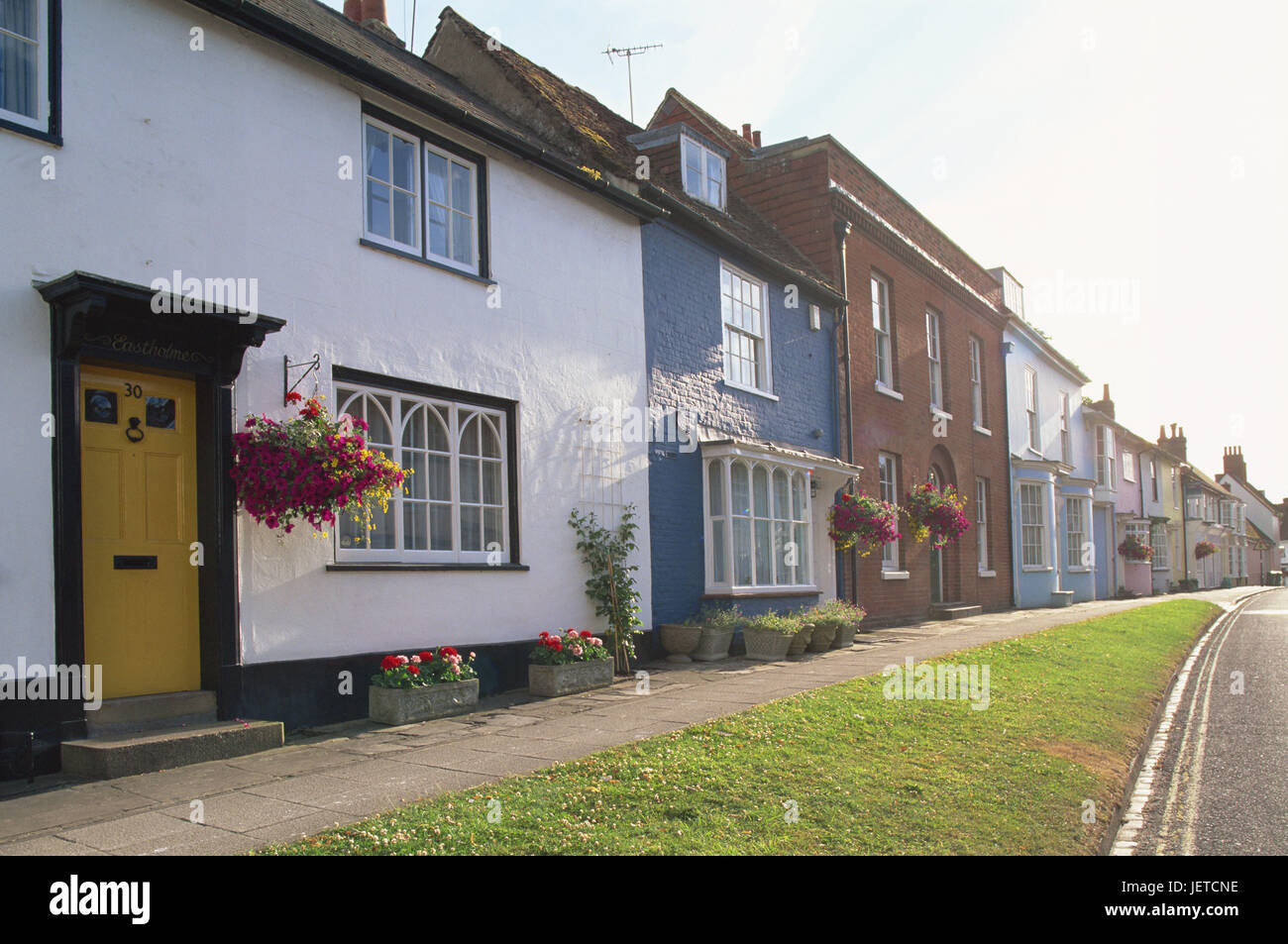 Great Britain, England, Hampshire, Alresford, terrace, back light, Europe, town, houses, buildings, architecture, - Stock Image