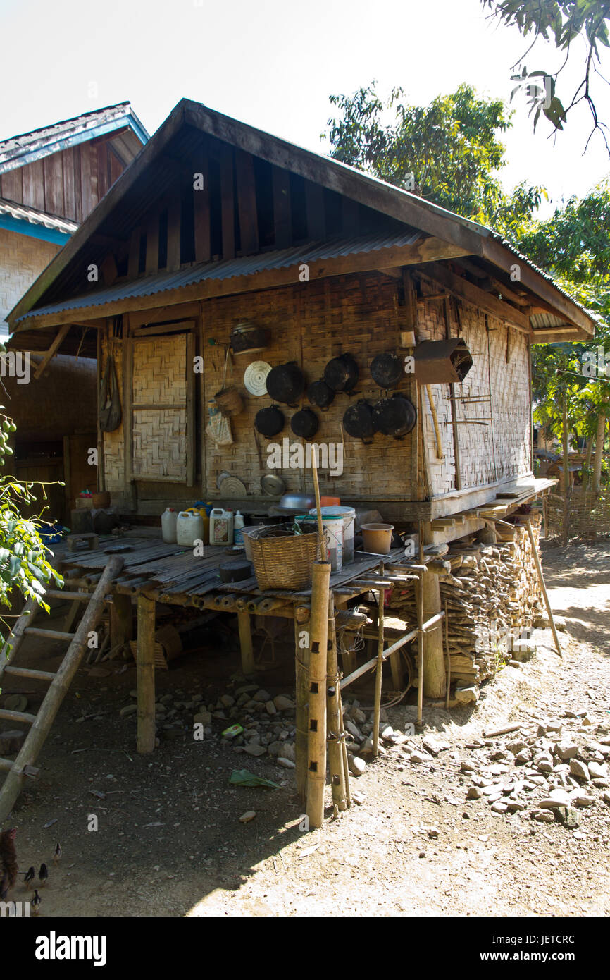 Traditional Village In Laos Kitchen Of A Simple House Stock Photo