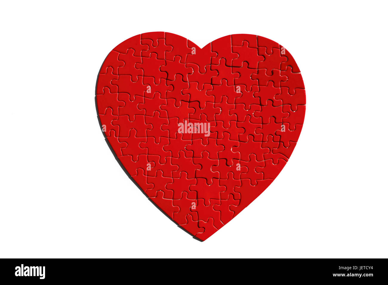 Jigsaw puzzle, heart form, red, completely, Stock Photo
