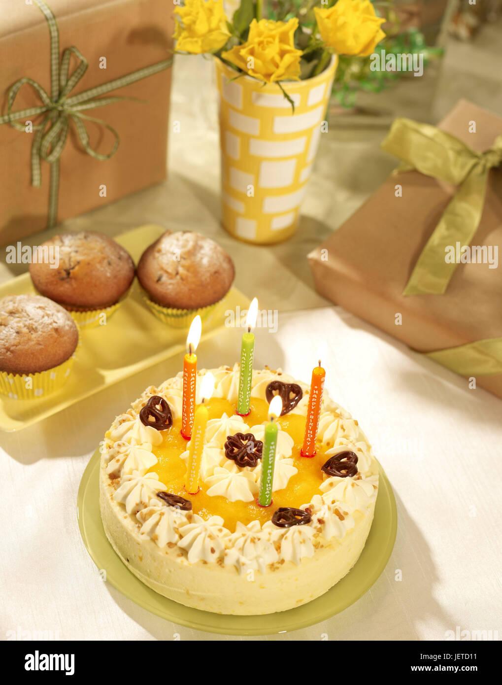 Birthday Cake Skyers Muffin Flowers Cakes Cream Gateau Tangerine Malice Fruit Pieces Five Brightly Burn