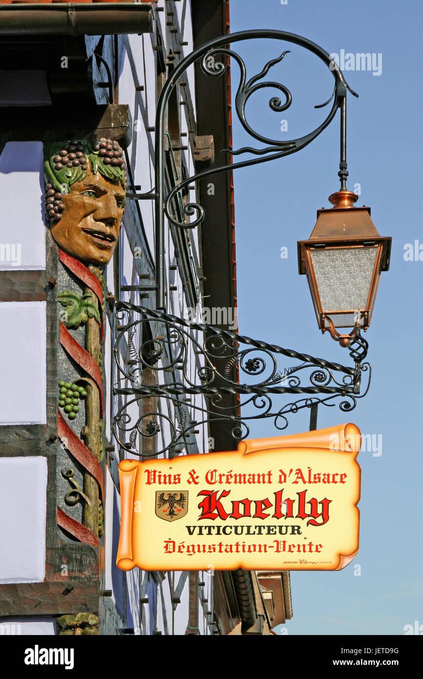 France, Alsace, home Kintz, historical sign, Winstub, wine tavern, wine-growing area, wine bar, wine-growing, grace - Stock Image
