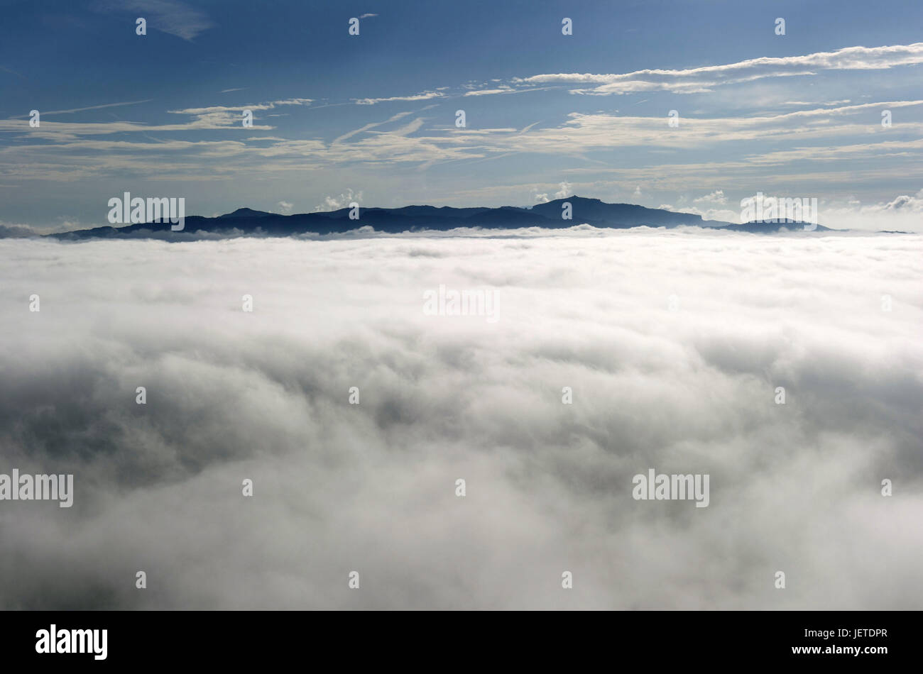 Spain, Catalonia, Montserrat, scenery with cloud cover, - Stock Image