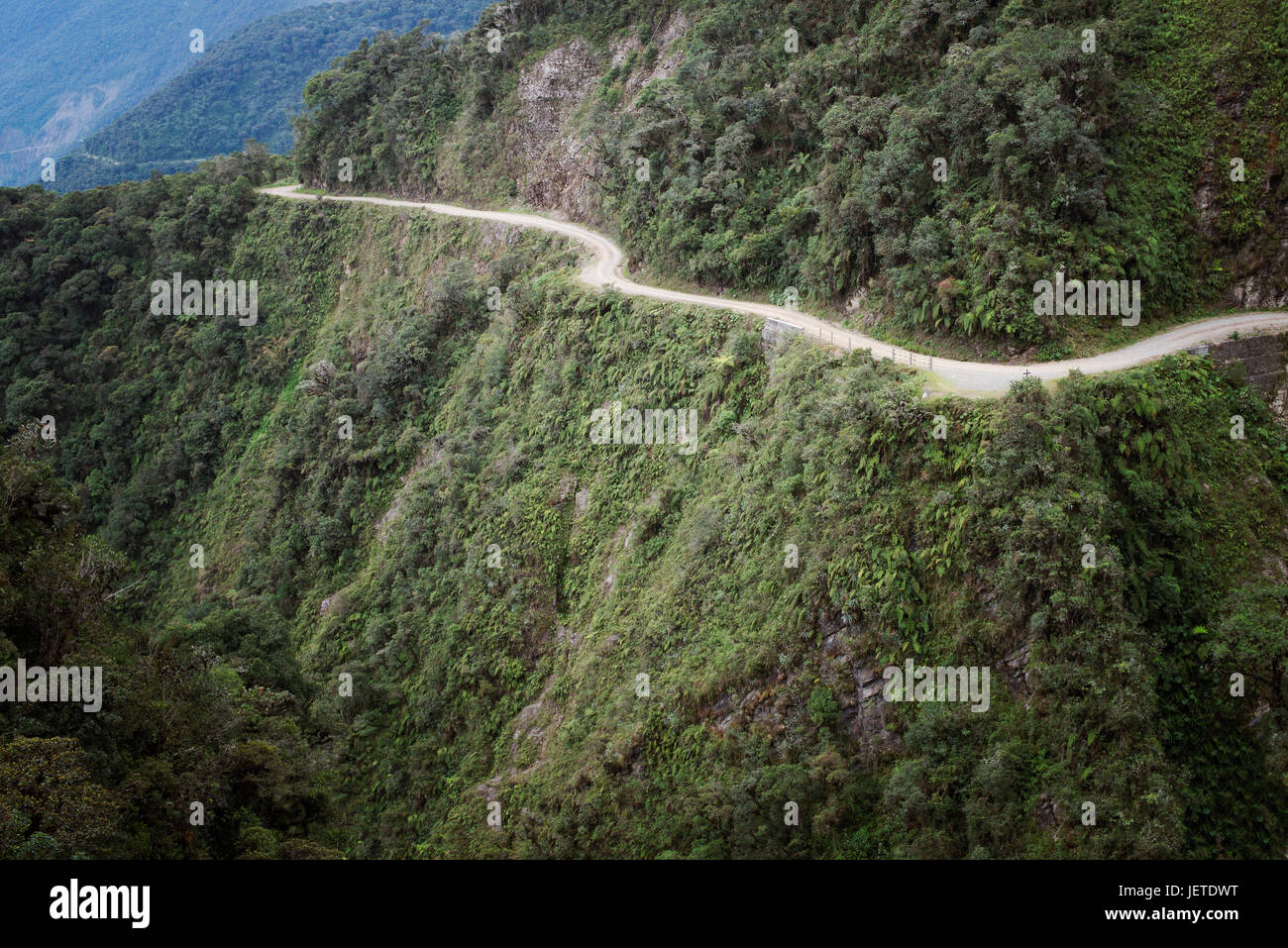 The Death Road - the most dangerous road in the world, North Yungas, Bolivia. Stock Photo