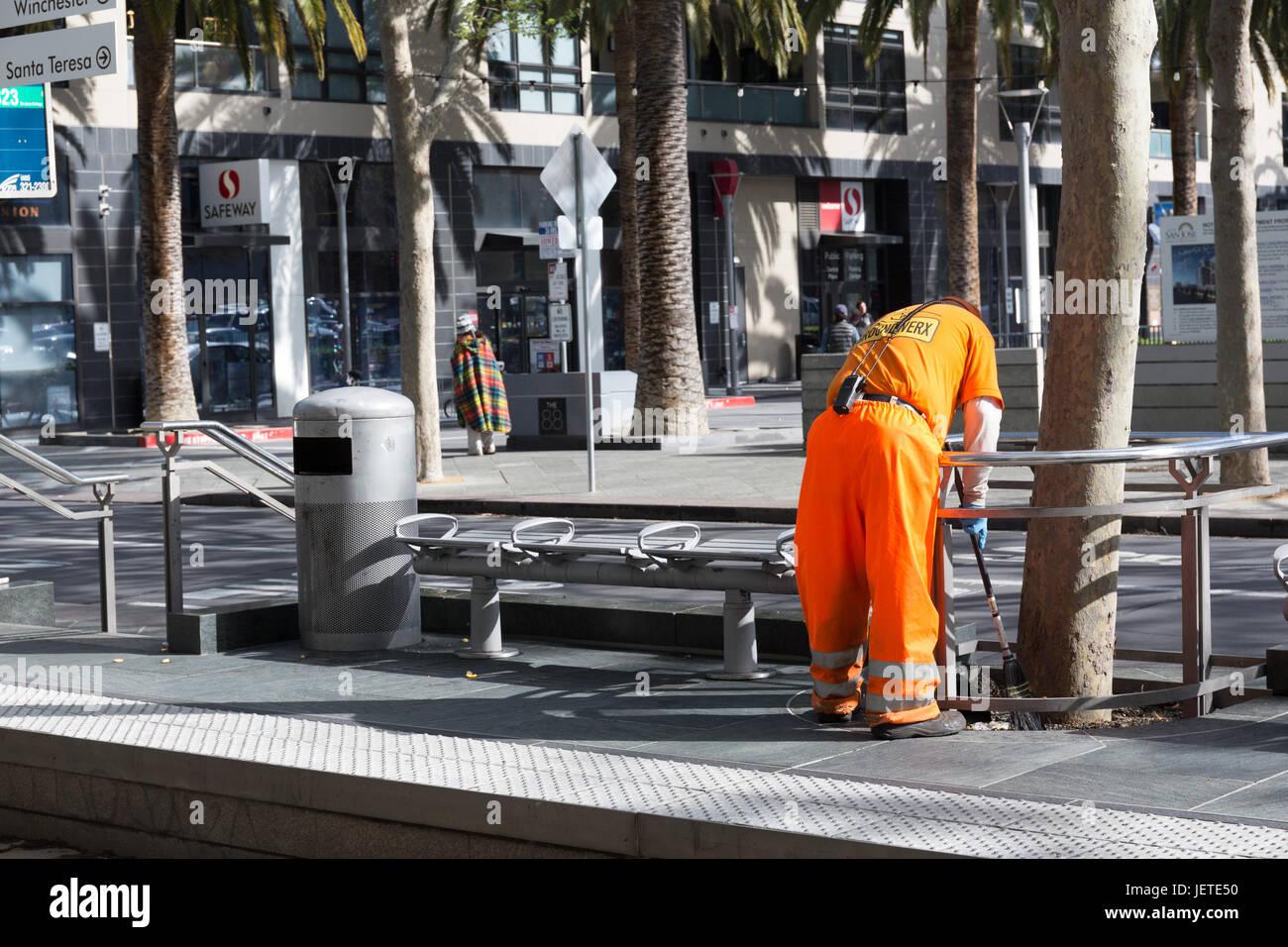 Downtown San Jose tram line - Stock Image