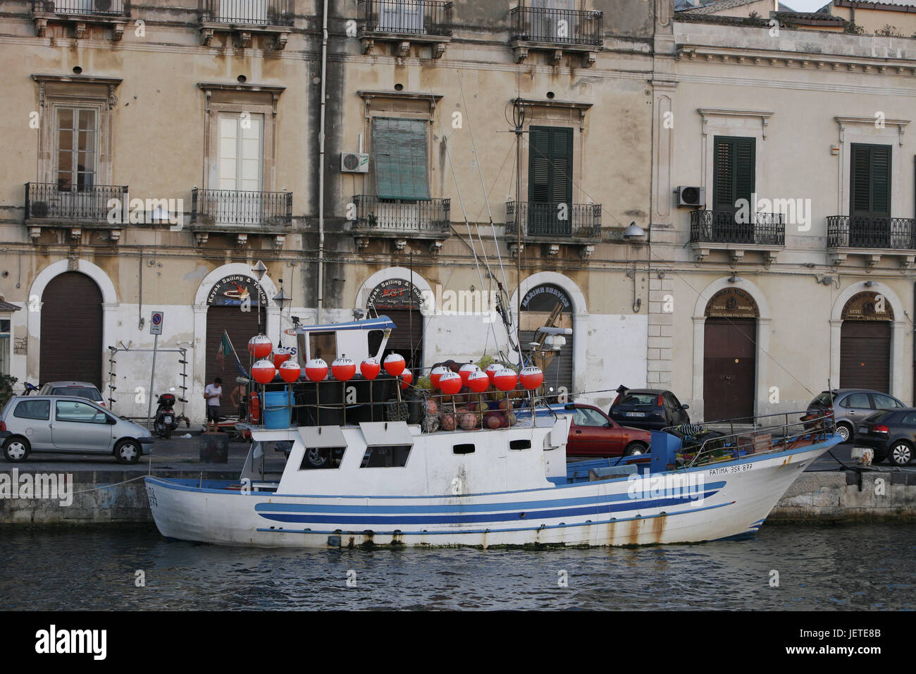 Italy, Sicily, island Ortygia, Syracuse, Old Town, channel, landing stage, fishing boat, Southern Europe, Siracusa, - Stock Image