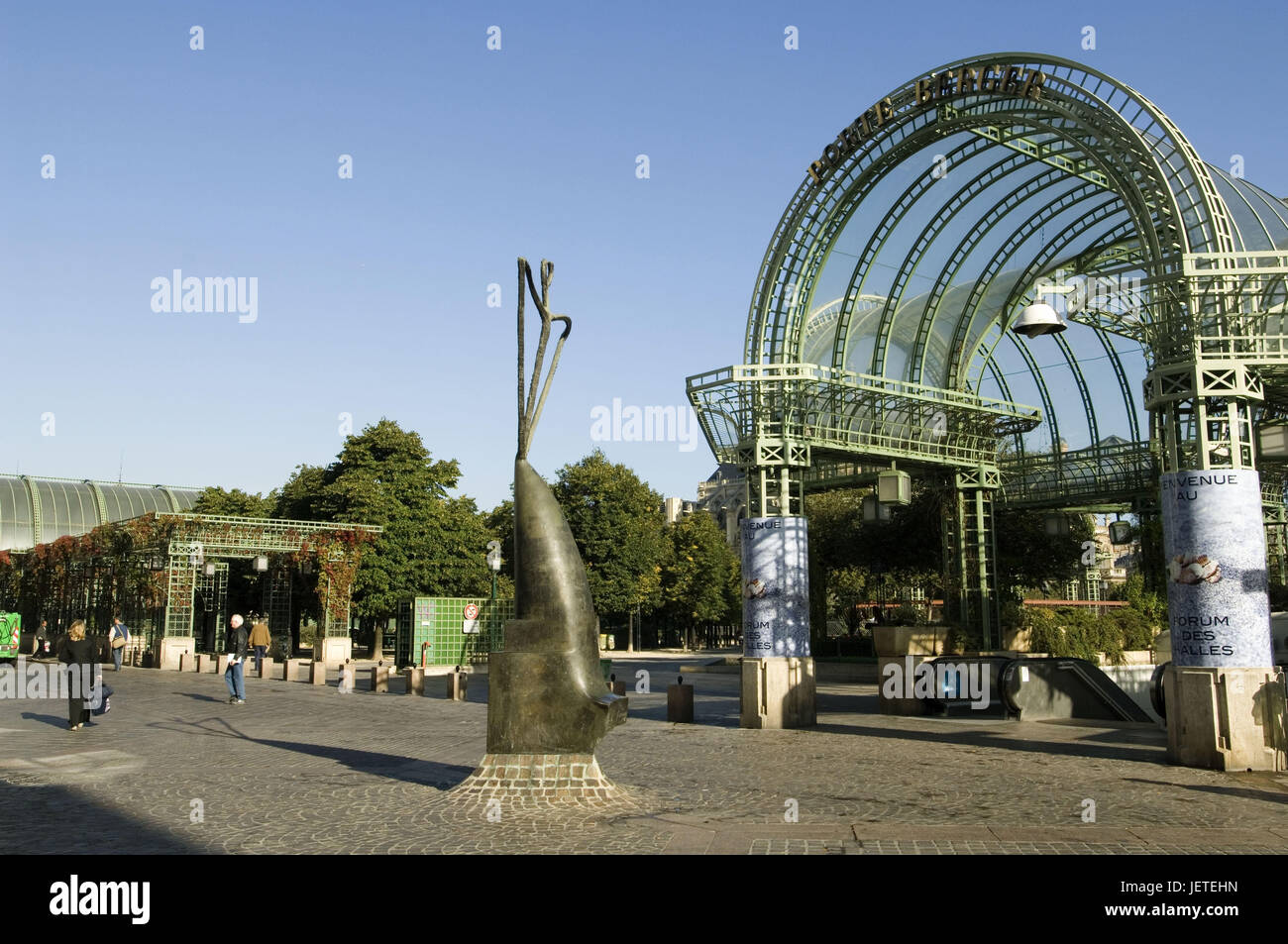 France, Paris, forum of the sound, round arches, passers-by