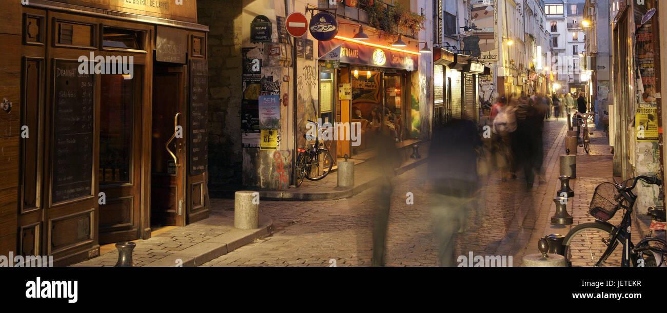 France, Paris, Rue de Laplander, pedestrian, blur, no model release, - Stock Image