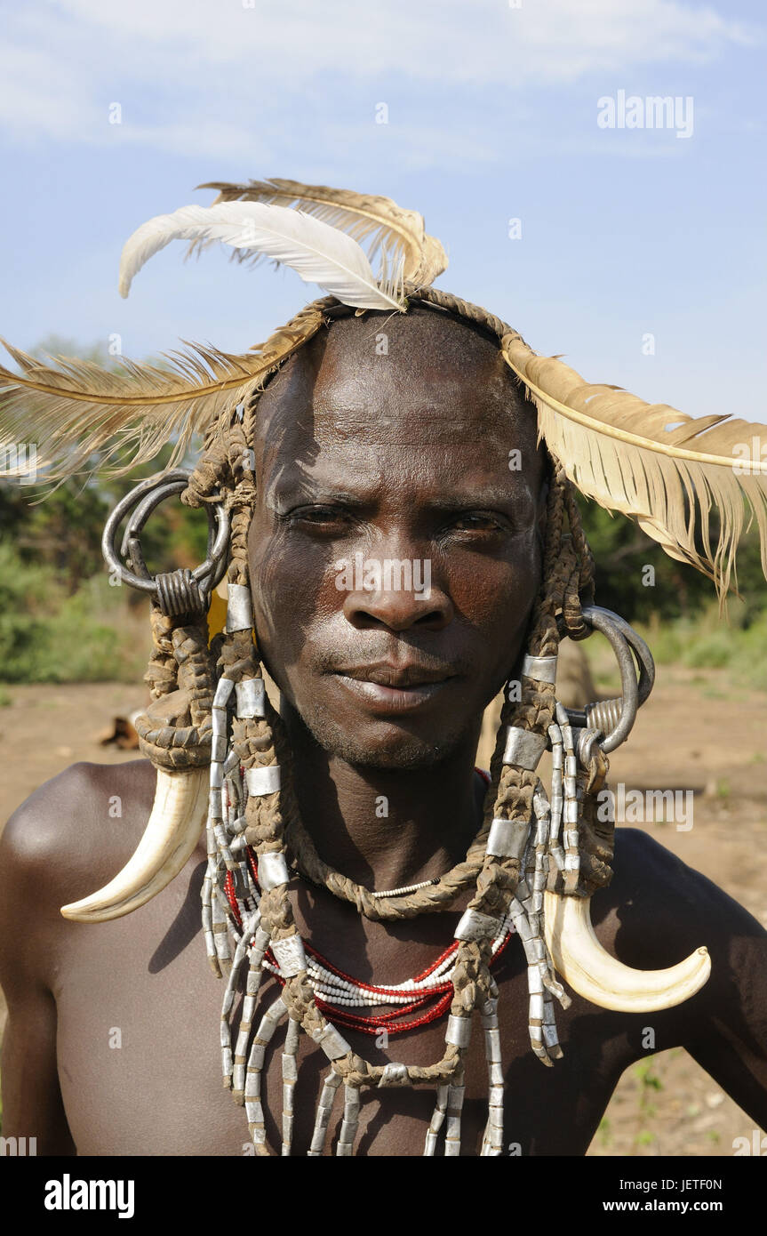 Man, tribe Mursi, Mago national park, southern Omotal, south Ethiopia, - Stock Image
