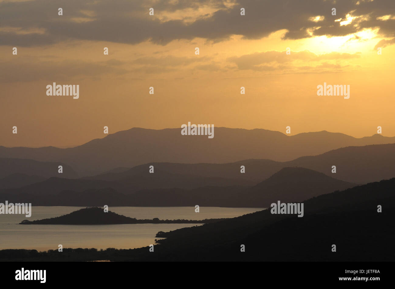Scenery, nature, sundown, Nechisar national park, south Ethiopia, Stock Photo