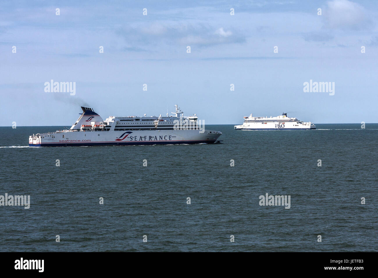 Ferries crossing the Channel between Dunkerque and Dover - Stock Image