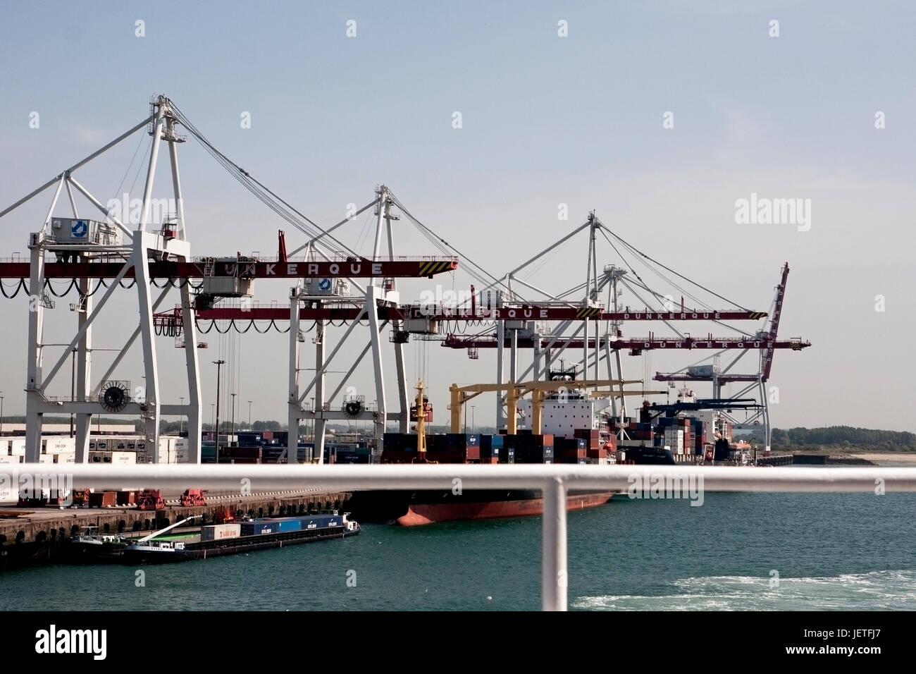 The container terminal at Dunkirk, France. Major route for imports and exports from Europe. - Stock Image