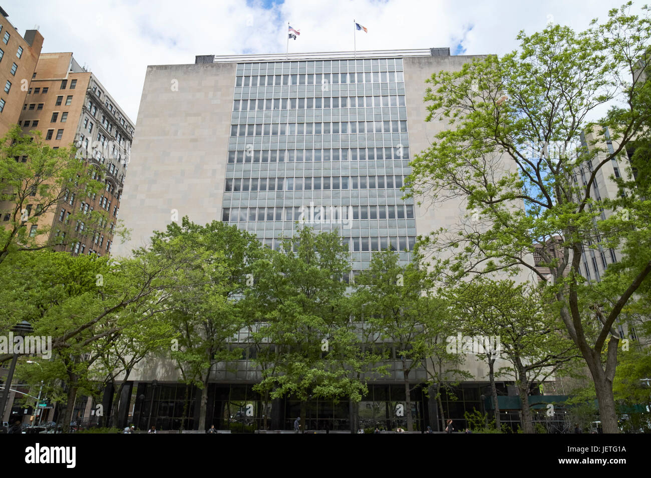 manhattan civil courts building from collect pond park New York City USA - Stock Image