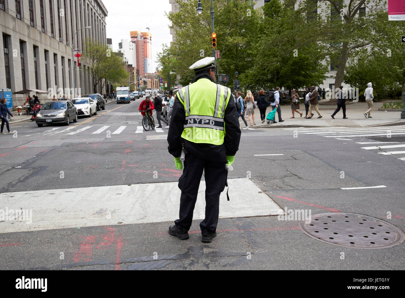 nypd traffic cop on the streets of New York City USA - Stock Image