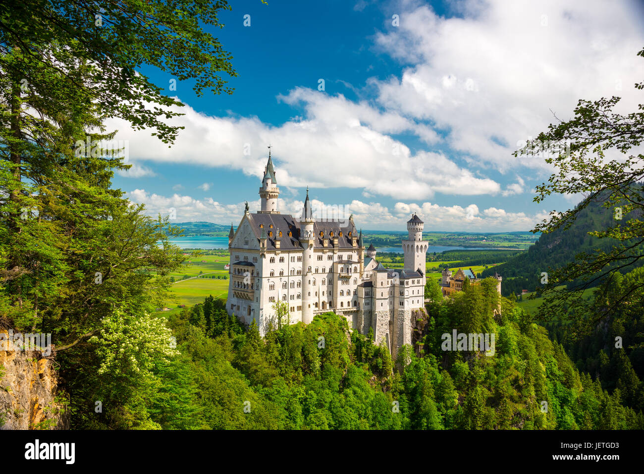 Neuschwanstein, Lovely Autumn Landscape Panorama Picture of the fairy tale castle near Munich in Bavaria, Germany - Stock Image