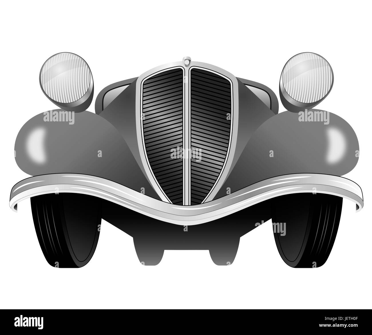 Old vintage model of the car from the front view - Stock Image