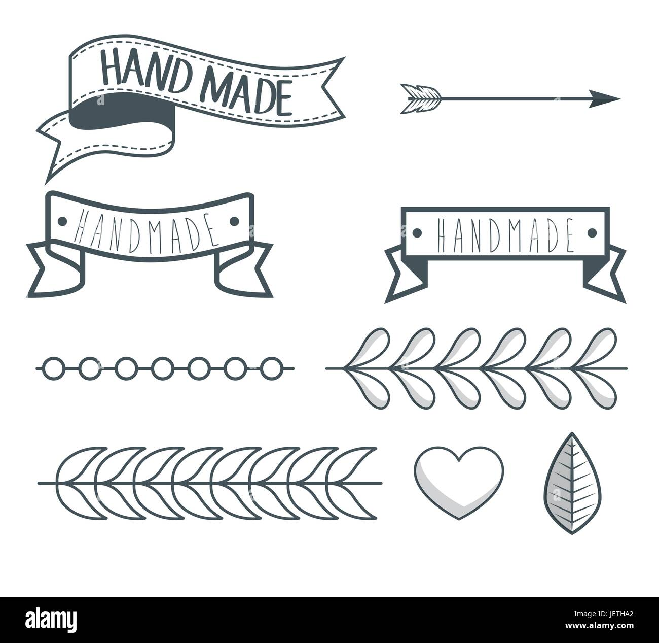 vintage hand made logotypes and labels - Stock Vector