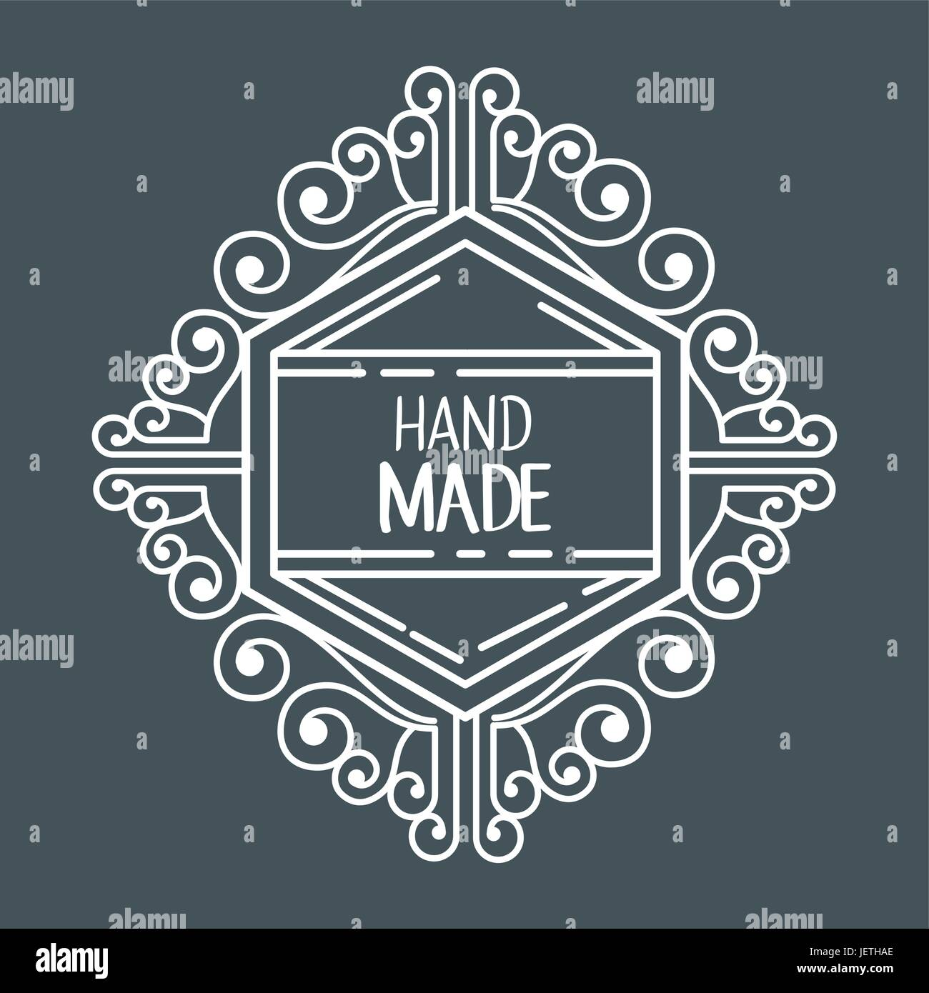 vintage hand made logotypes and labels - Stock Image