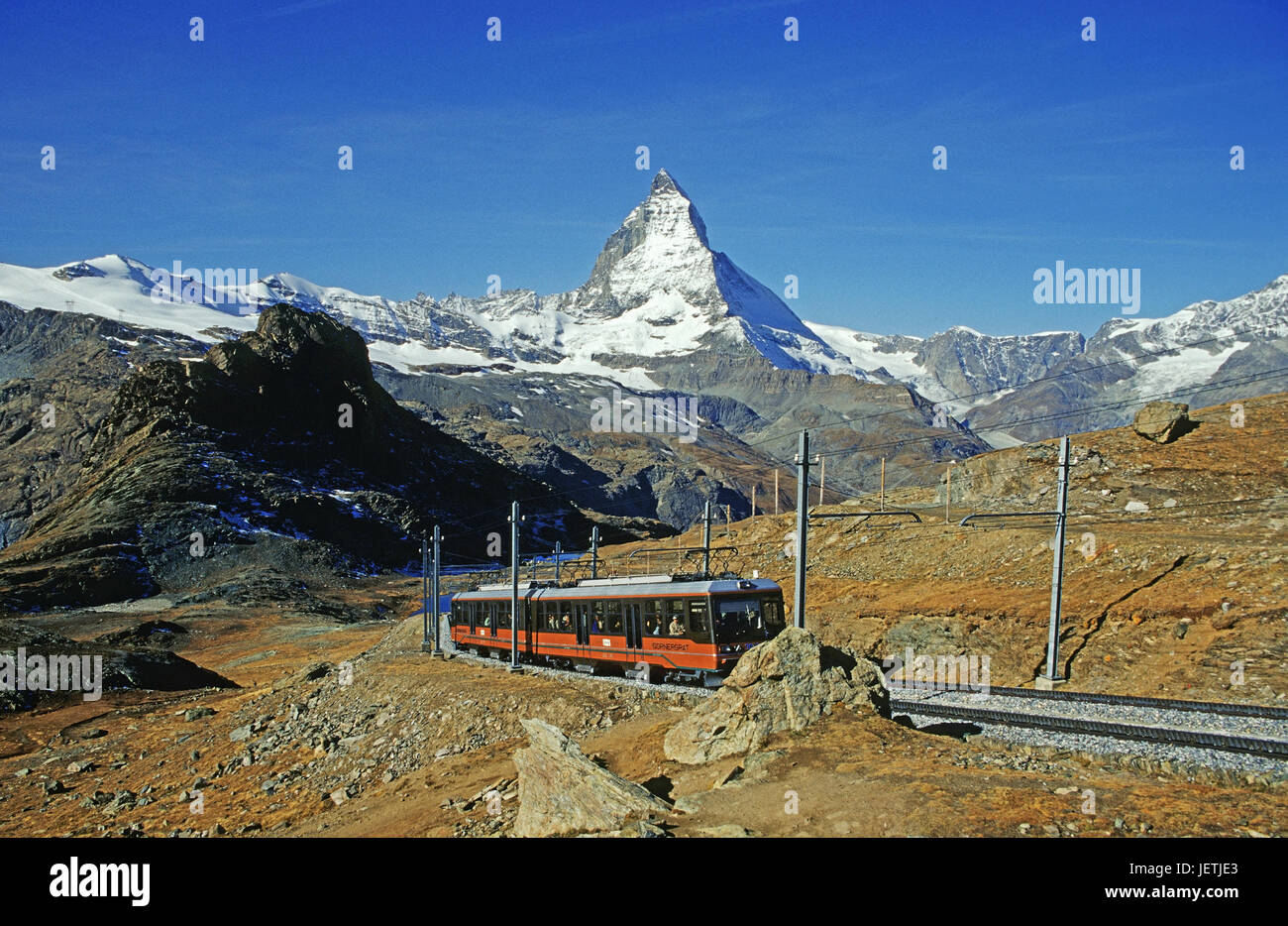 Matterhorn with corner burr road, Matterhorn mit Cornergrat Bahn Stock Photo