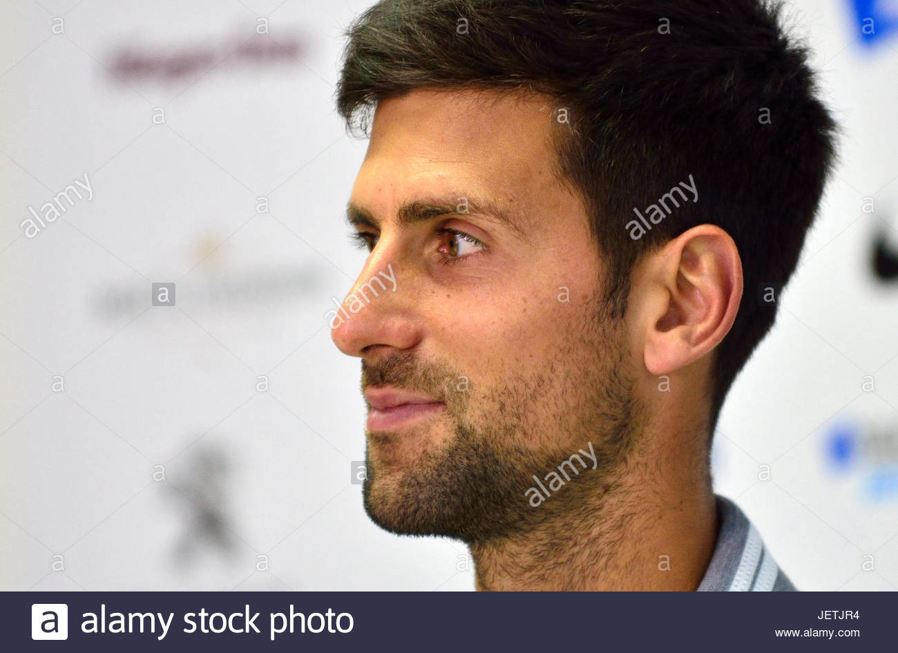 Novak Djokovic (Serbia) in a press conference before his first appearance at Devonshire Park, Eastbourne, during - Stock Image