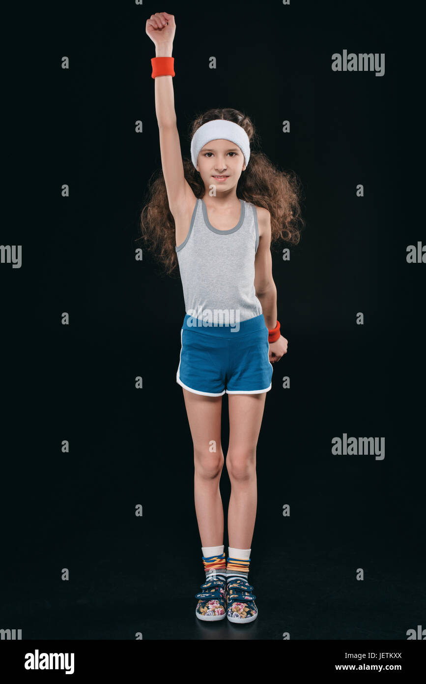 99d0b732 girl in sportswear exercising isolated on black. acting kids, 11 ...