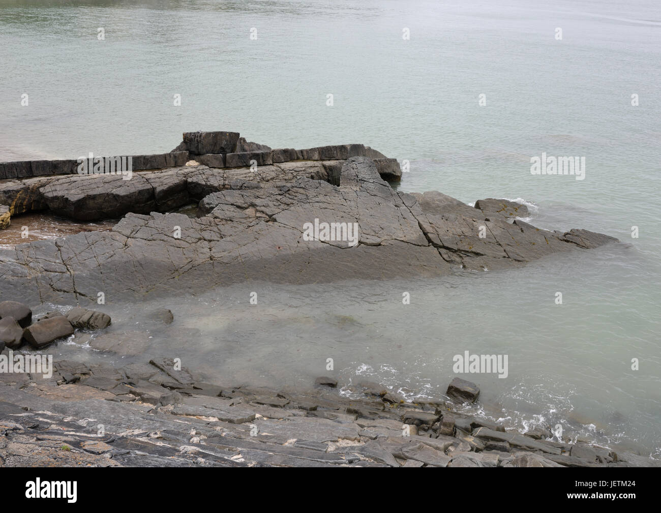 Rock formation at New quay cardigan bay wales - Stock Image