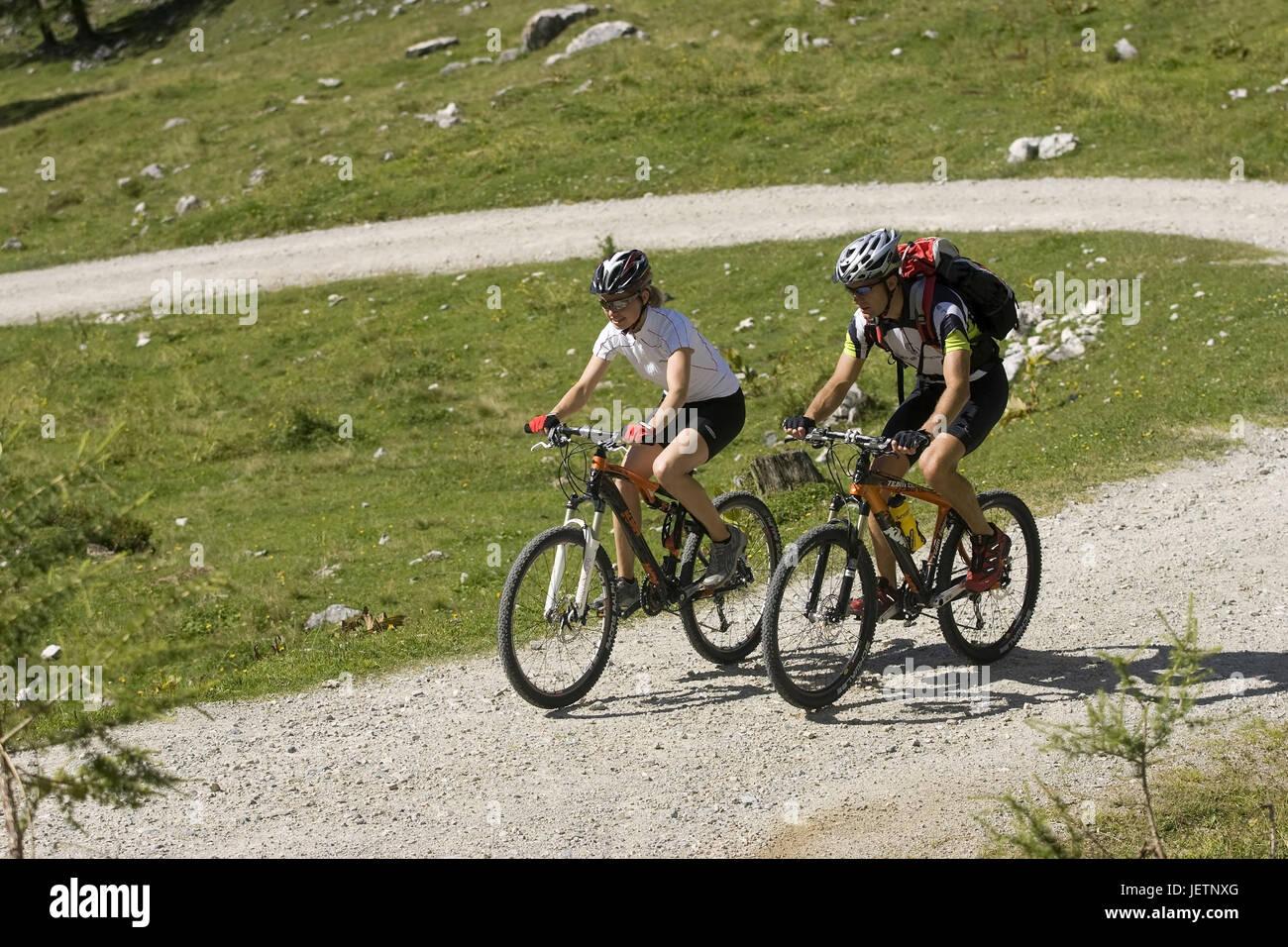 Mountain biker on the way, Mountainbiker unterwegs Stock Photo