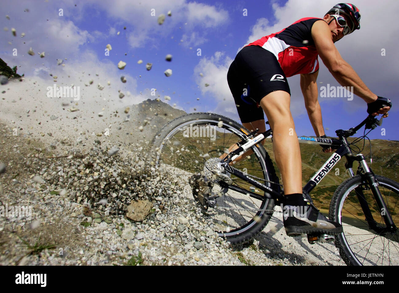 Mountain biker in action, Mountainbiker in Action - Stock Image