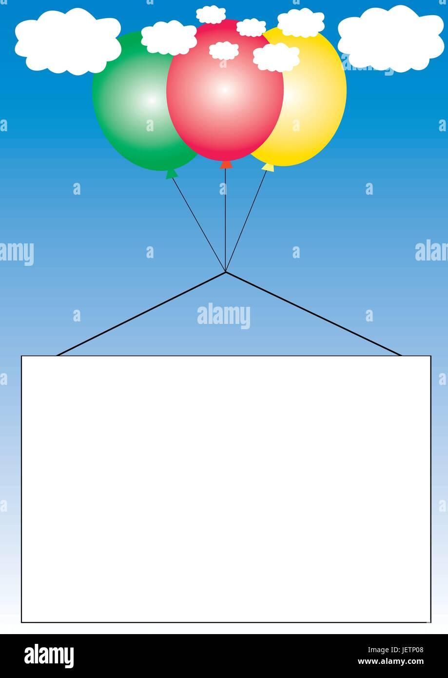 blue, print, banner, advertisement, balloons, ballon, floating, clouds, - Stock Vector
