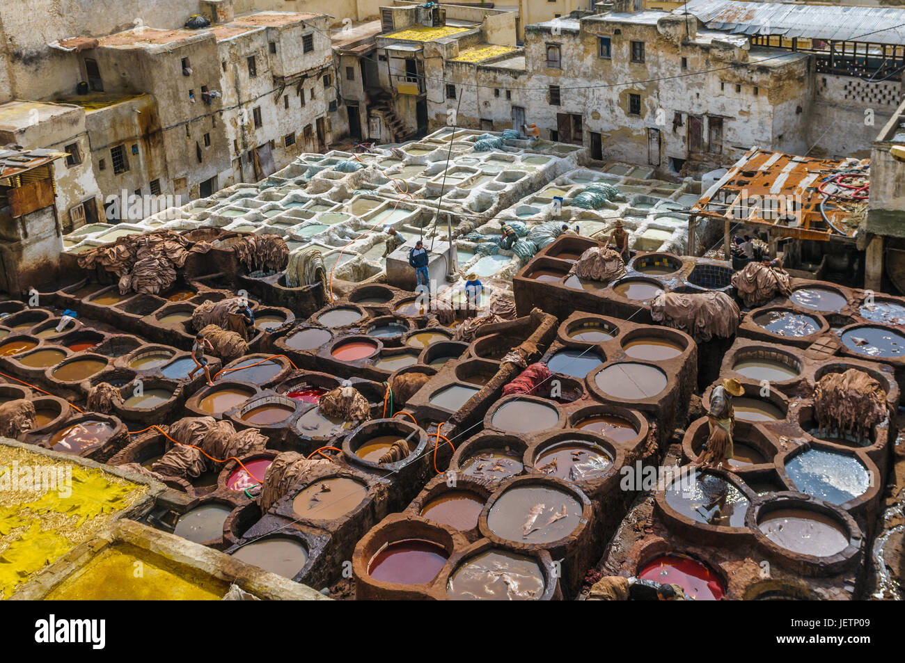 Tannery in Fez, Morocco - Stock Image