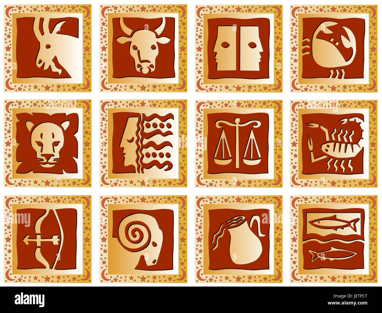 optional, mysticism, button, horoscope, sign of the zodiac, squares, destiny, - Stock Vector