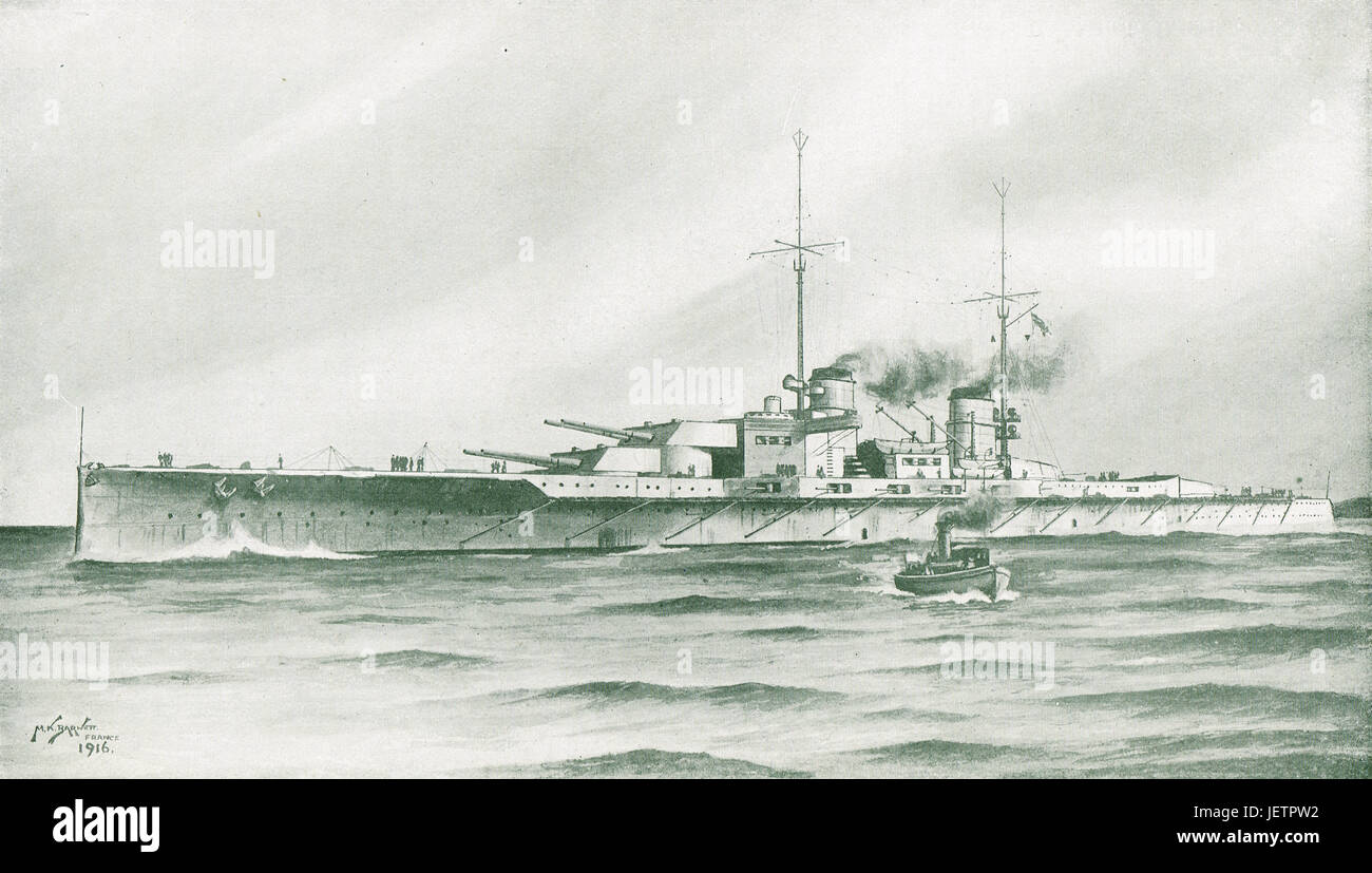 SMS Lutzow crippled at Battle of Jutland - Stock Image