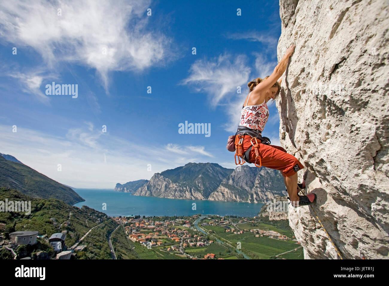 Climbing in the mountain - Free climb, Klettern am Berg - Free climb - Stock Image