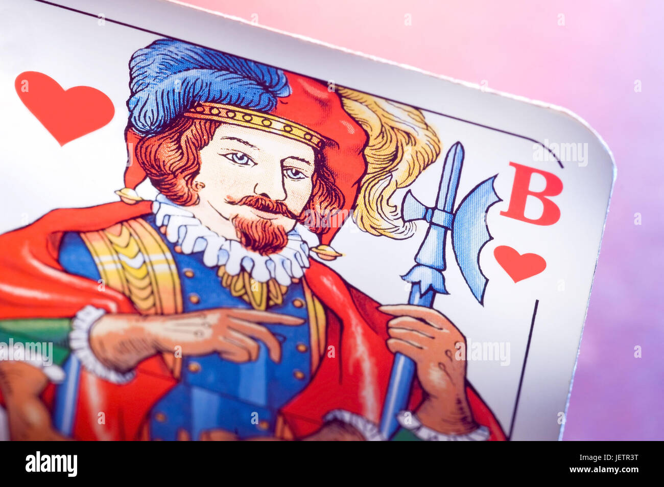 Playing card heart jack, Spielkarte Herzbube - Stock Image
