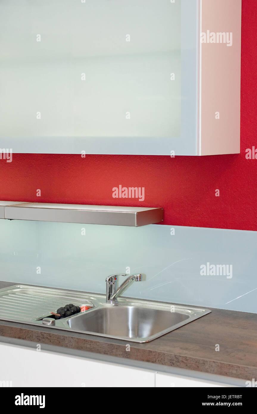 Modern kitchen unit with wall cupboard, unterline, range hood Stock ...