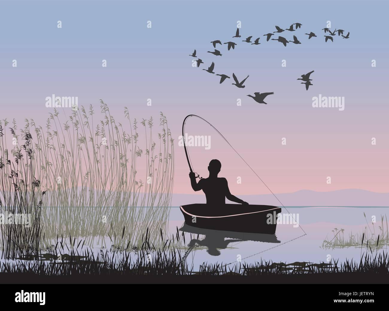 hand, hands, fish, hobby, fishing, fisherman, fresh water, lake, inland water, - Stock Vector