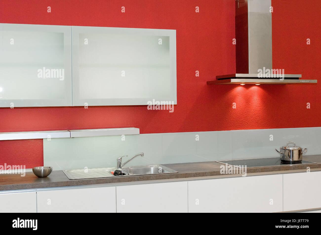 Modern Kitchen Unit With Wall Cupboard Unterline Range Hood Stock