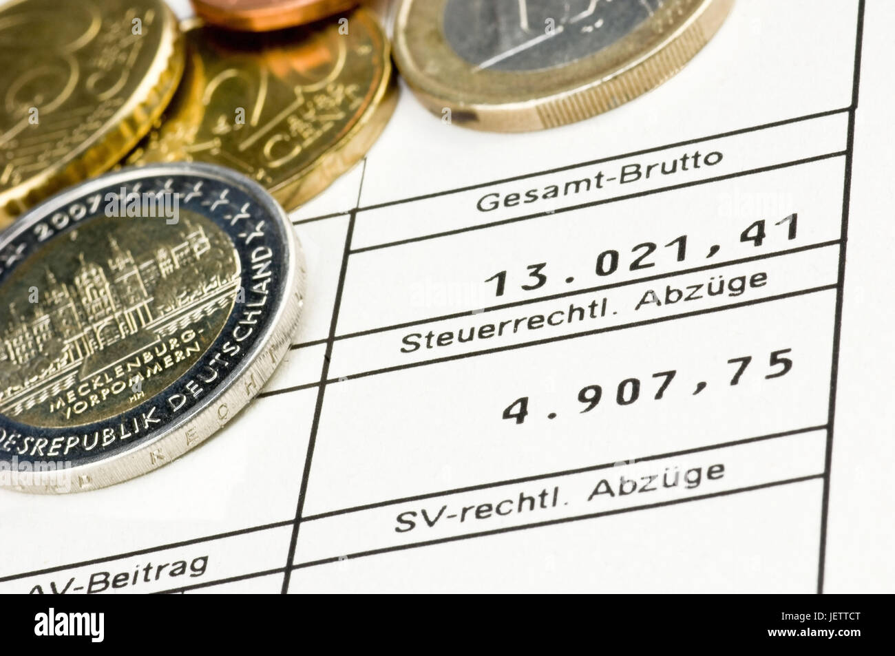 Pay slip form with euro-coins, Lohnabrechnungs-Formular mit Euro-Muenzen Stock Photo