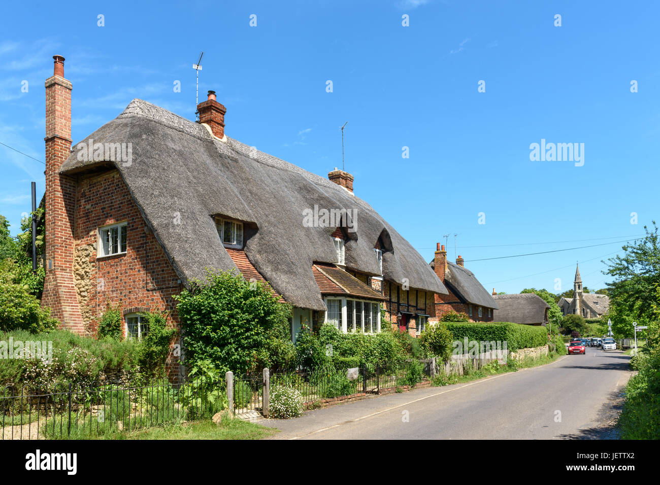 Thatched Cottages, Clifton Hampden, Oxfordshire, UK - Stock Image
