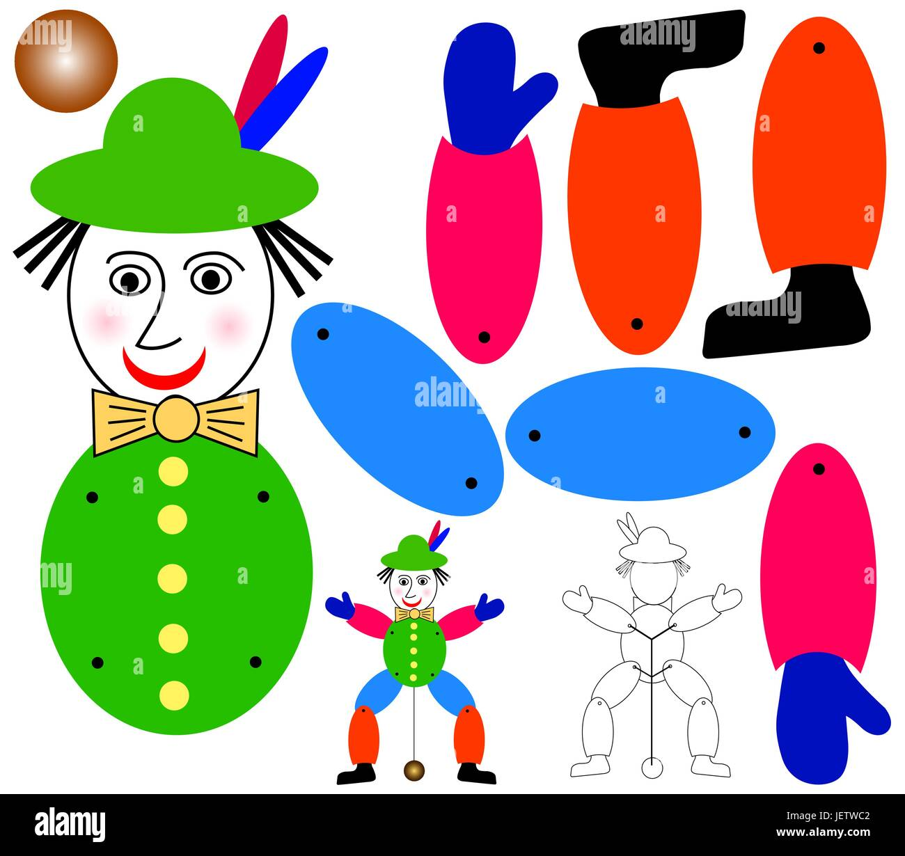 marionette for crafting - indemnified vector - Stock Vector