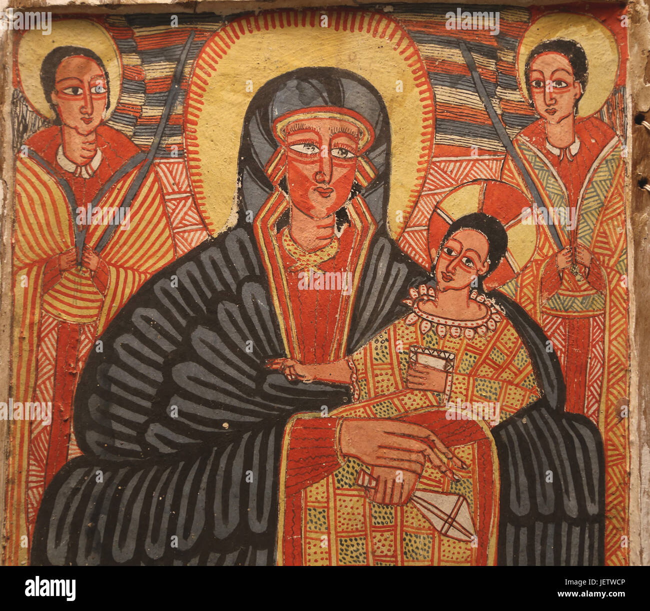 Triptych with Mary, scenes of the life of Jesus and Saints. Ethiopian Christian art. End of 17th Century. Paint Stock Photo