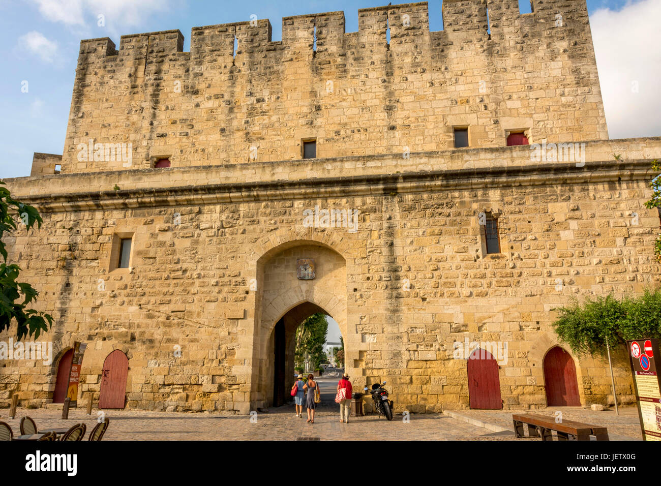Gardette door of city wall of the medieval town of Aigues-Mortes.Gard. France - Stock Image