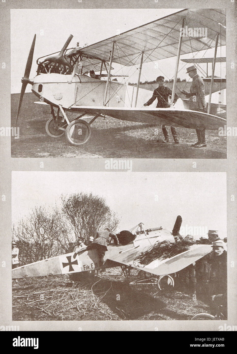 German aeroplanes brought down in France - Stock Image