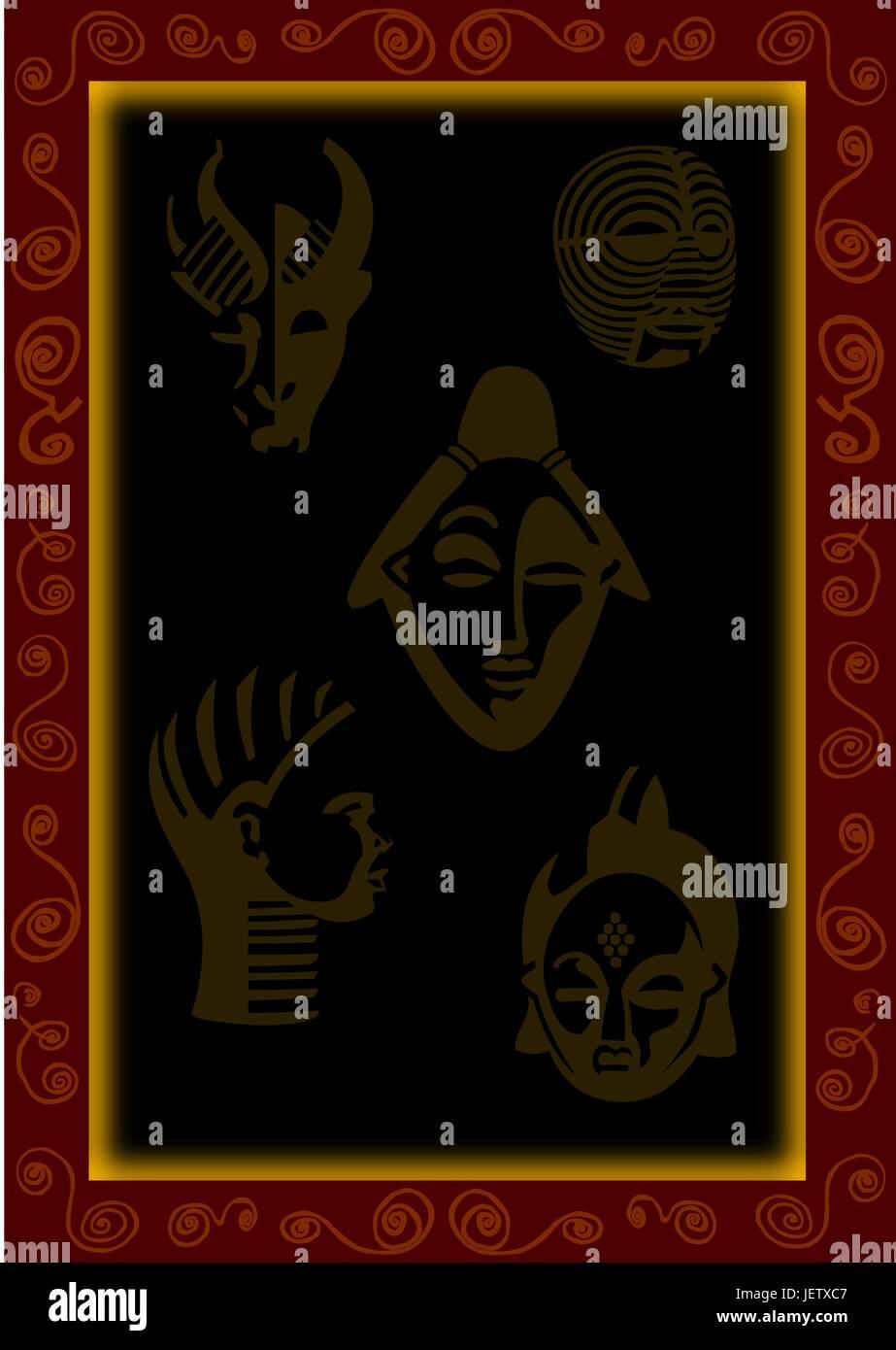 space, brown, brownish, brunette, tourism, africa, masks, illustration, - Stock Vector
