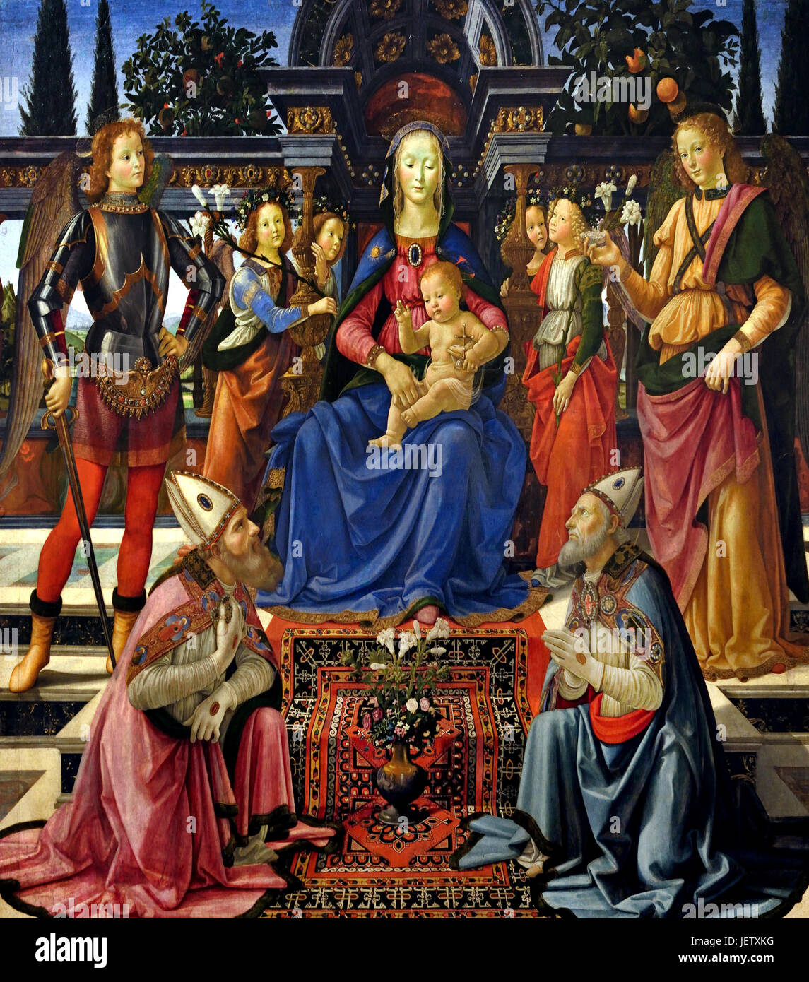 The Madonna and Child adored by St Zenobius and St Justus, 1483 Domenico Ghirlandaio Italian 1448 –1494 Italian - Stock Image